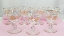 "(7) Libbey Safedge Glasses 4.25"" White Rose Bouquet Gold Accents Glassware"