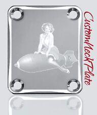 Chrome Bomb Pin Up Engraved Guitar Neck Plate fits Fender tele/strat/pbass