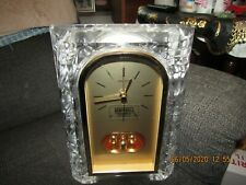 Very nice working Seiko quartz anniversary/mantle clock w/solid glass frame.