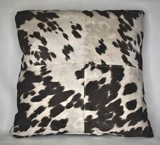 large cowhide brown white faux leather throw sofa pillows western