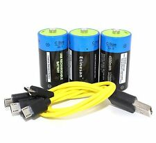 3pc C type 1.5v Lithium LiPo 4500mWh Rechargeable C Size battery + charging line