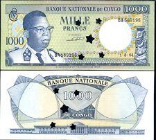 CONGO DEMOCRATIC REP 1000 FRANCS 1964 P 8 STAR CANCELLED AUNC