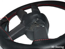 FITS FIAT DUCATO MK3 06-14 BLACK ITALIAN LEATHER STEERING WHEEL COVER RED STITCH