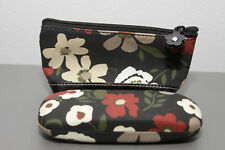 Matching Small Hard Eye Glasses Case And Make Up Toiletry Bag Black Floral