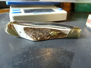 """BULLDOG BRAND 4+"""" O.A. STAG HANDLE TRAPPER POCKET KNIFE 2-440 S.S. BLADES 1 OF 3"""