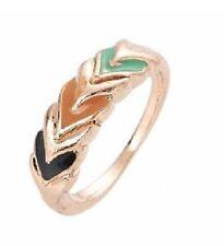 Rose Gold Multi Coloured Enamel Painted Geometric Ring  - Size Q