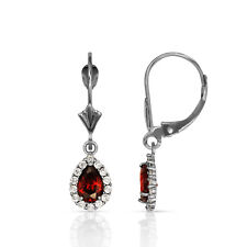 2.25 CTW Halo Garnet Tear Drop Dangle Leverback Earrings 14K White Gold