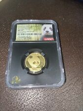 China 2018 Gold 8 gr. 0.999 Panda 100 Yuan NGC MS70 First Day of Issue Signed
