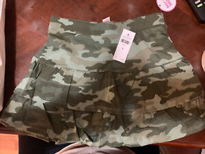 Justice Size 8 Camo Tiered Skirt With Built In Shorts