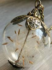 Große 3cm Pusteblume Anhänger echte Pusteblumen Bronzefarben Glas.Kette 65-100cm