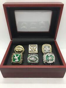 6 Pcs Philadelphia Eagles Super Bowl Championship Ring Set with Display Box