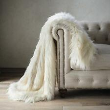 Super soft fluffy white faux fur Cozy Mongolian Faux fur throw blanket for sofa