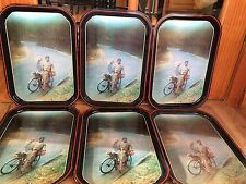 Set Of 6 Vintage Metal Girls On A Bike By A Stream Lap TV Trays