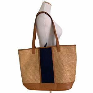 Thirty One Dream Big Tote Woven Natural Straw Design Beach Bag Navy Blue Travel