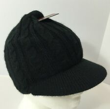 Hawk Beanie Brim Hat Winter Cap Black Acrylic Cable Knit Winter Hat One Sz NWT