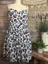 Hell Bunny Pin Up Retro Sleeveless Day Of the Dead Print Dress SZ L