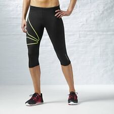 Reebok Womens One Series Running Capri Pants Gym Leggings XS S M L XL L (uk Size 16 - 18) EU 42 - 44