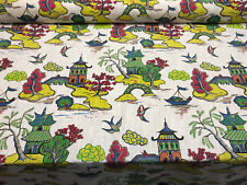 Xanadu Modern Toile Jubilee Yellow Green Home Accent Fabric by the yard