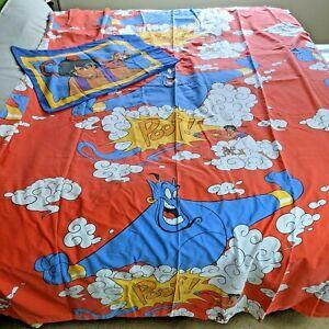 Vintage 90s Disney Aladdin Genie Abu Red Twin Flat Bed Sheet With Pillowcase
