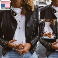 Womens Motorcycle Biker Jacket Ladies Faux Leather Zip Up Blazer Coat Outwear US