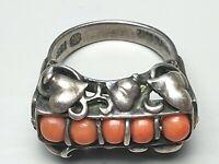 Jugendstil Korallen Silber Ring Handarbeit 835 Silber punziert Meistermarke/A459