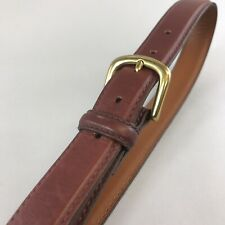 Vtg L.L.BEAN Brown Leather Casual Jeans Trouser Buckle Belt Size 38 Made USA