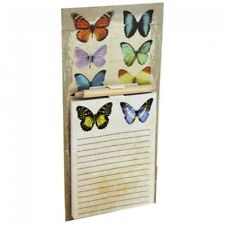 Butterfly Shabby Chic Magnetic Memo Note Pad Pencil Fridge Shopping List Kitchen