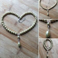 Beautiful Handmade Unique Faux Pearl and Crystal Drop Pendant Style Necklace