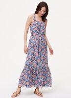 NWT Womens Ann Taylor LOFT Blue Wildflower Maxi Dress Sz L Large