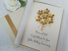 Golden 50th Wedding Anniversary Card Handmade Personalised luxury boxed