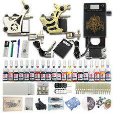 New Complete Tattoo Kit 2 Machines Gun 20 Inks Set Power Supply Needle Cups DJ24
