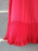 Vintage 60s SHADOWLINE Chiffon Lace Red Nylon Tricot Half Slip Skirt Petticoat M