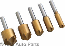 5pc Titanium Nitride Coated Countersink Bit Se Wood Plastic Metal Drill Bits New