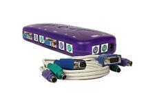 4-Port Ps/2 Kvm Switch Kys104 w/ 1 Kvm Cable New