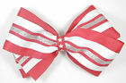 Personalized Embroidered Red White Silver Star Patriotic Girl's Hair Bow- school