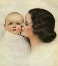 Counted Cross Stitch Pattern Chart Graph - Vintage Mother & Baby 1930s