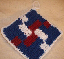 Crocheted Double Thick Patriotic Pot Holders / Hot Pad - red, white, and Blue