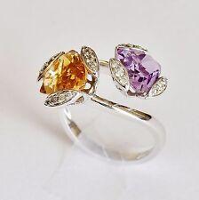 AMETHYST CITRINE DIAMOND RING NATURAL GEMSTONES 18K 750 WHITE GOLD SIZE Q NEW