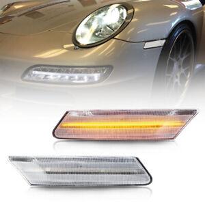 Clear Lens Amber LED Side Marker Light for 06-12 Porsche Boxster Cayman Carrera