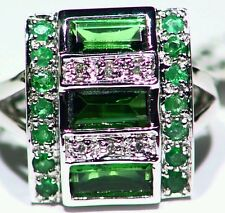2.86CT 14K Gold  Natural Tourmaline Emerald  Cut  White Diamond Engagement Ring