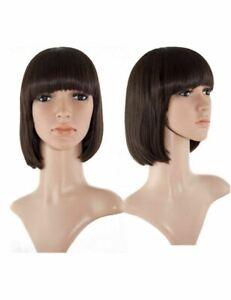 "Ladies Full Head Wig With Bangs BOB Short Straight Chocolate Brown 10"""