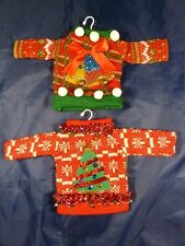 Tacky Ugly Holiday Sweater Ornaments Lot of 2 Silvestri! Holiday NWT Tree/Bells