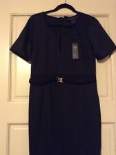 New Kim Kardashian Black Dress Large Size L Belt $70 Career Nice Party Medium M