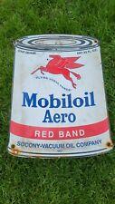 VINTAGE DATED 1947 MOBILOIL AERO MOTOR OIL CAN PORCELAIN GAS STATION PUMP SIGN