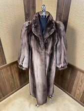 BEAUTIFUL VINTAGE FULL LENGTH PHANTOM SHEARED BEAVER FUR COAT MEDIUM 6 - 8