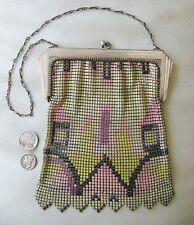 Antique Art Nouveau Silver Frame Yellow Pink Black Enamel Chain Mail Mesh Purse