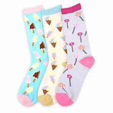 Food Theme Crew Socks for Women Lolipop-Ice Cream-Popsicle-3 Pairs