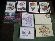 16 PcLot-5 Floral,1Snow Owl Art Prints & 2 Handmade Blank Note Cards 8 Envelopes