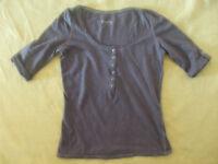 Damen Shirt von Pimkie in Gr. S bzw. 36, dunkelgrau, Krempelärmel