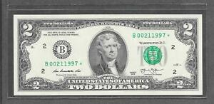 2013 B STAR - $2 UNC * Fancy Birth Year + Date # 00.21.1997 * Replacement Note